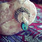 The sickle magic necklace - crescent moon with labradorite stone - leaf setting