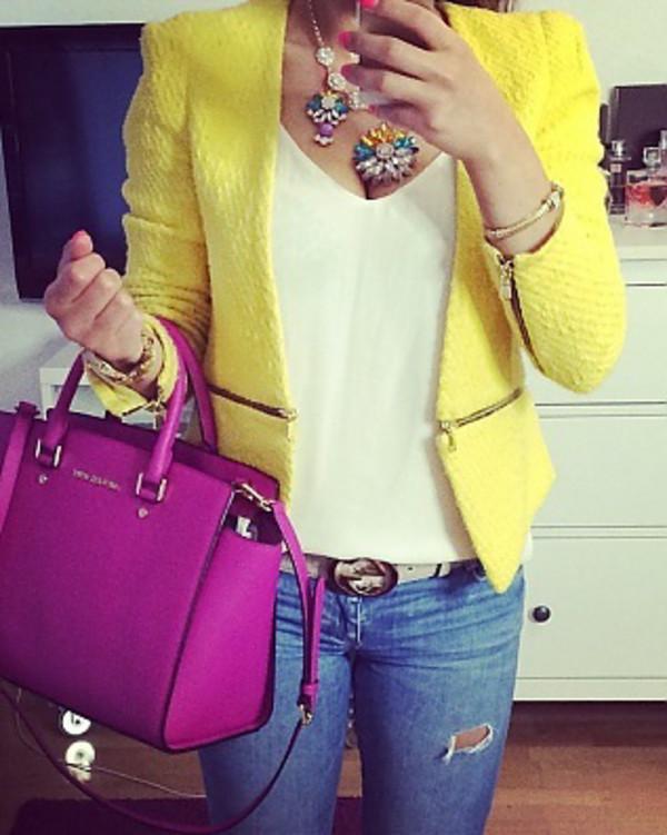 jacket yellow blazer yellow tweed zara blazer
