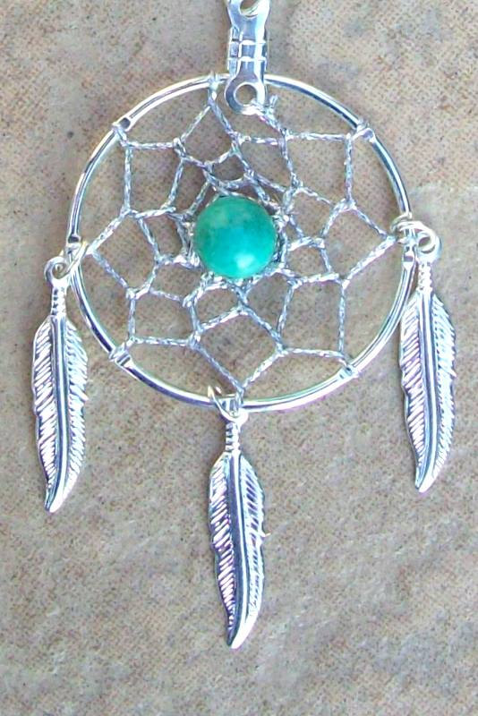 Dream catcher necklace in silver with Turquoise by SerenityJewelry