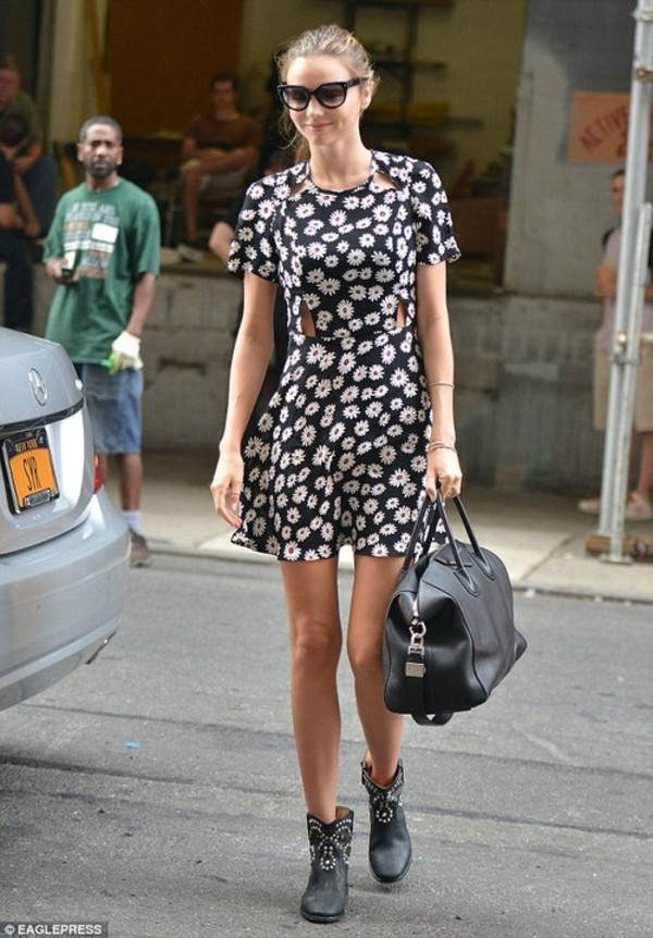 dress floral short dress miranda kerr bag