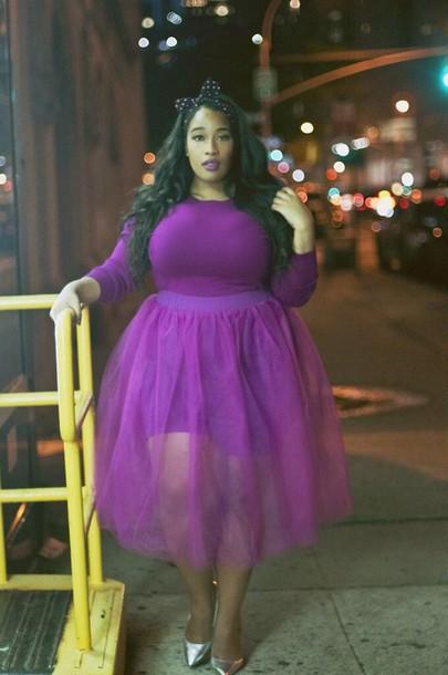 skirt tulle skirt shirt hair accessory curvy purple