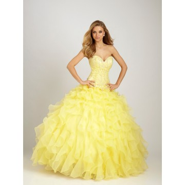 Ball Gown Sweetheart Appliques Beading Ruffled Organza Long Yellow Prom Dress
