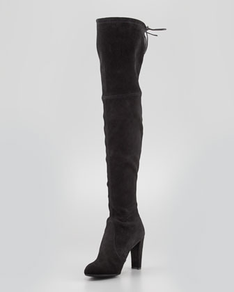 Stuart Weitzman Highland Stretchy Suede Over-the-Knee Boot, Black - Neiman Marcus