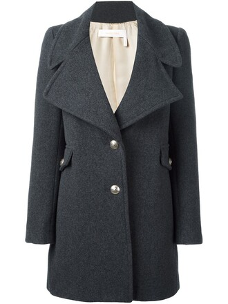 coat short women wool grey