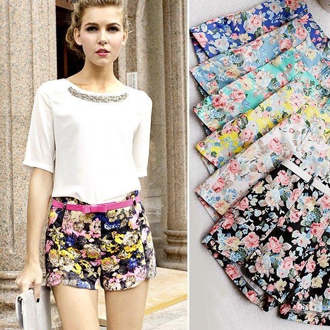 New Womens Floral Elastic High Waist Pants Shorts Mini Trouser Short Hot Pants O | eBay