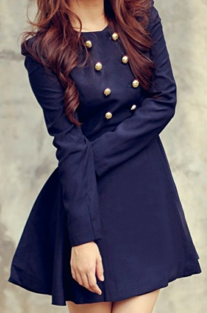 dress clothes jacket trench coat sailor style girly coat nice cute new style outfit idea coat dress double breasted navy dress fall outfits winter dress winter coat winter outfits fall dress button up dress