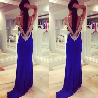 dress royal blue prom dress royal blue prom dress backless prom dress blue prom dress rhinestones backless dress