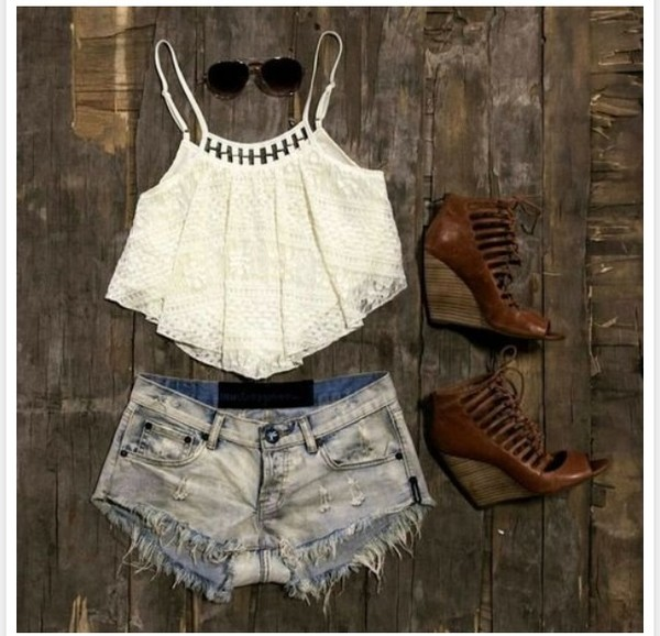 shorts high waisted dark wash shorts blouse shoes sunglasses High waisted shorts white crop tops shirt tank top