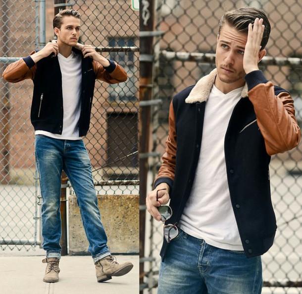 jacket sheepskin collar baseball jacket brown jacket blue jacket lambskin leather lambskin sheepskin