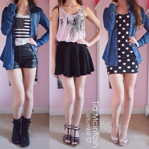 shorts dress skirt jacket tank top shoes blouse