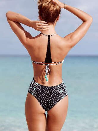 swimwear one piece swimsuit beach victoria's secret victoria's secret model racerback boho