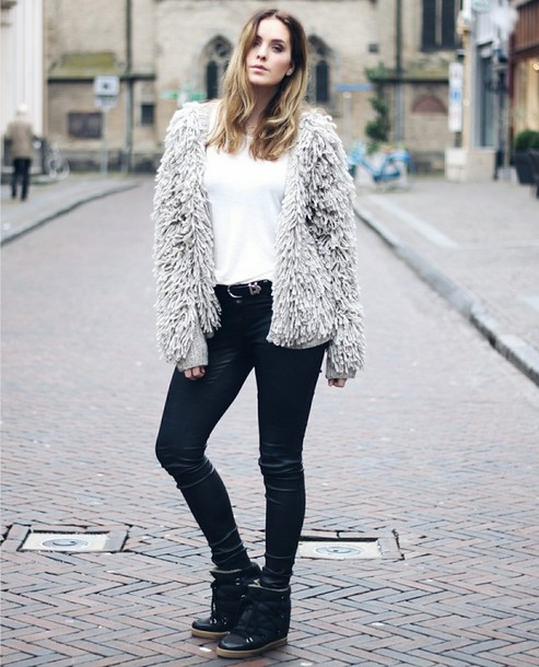 moderosa blogger pants shoes fluffy fuzzy coat winter jacket winter boots coated jeans jacket shirt