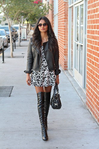 tuolomee blogger dress shoes sunglasses bag thigh high boots leather jacket black jacket print winter outfits jacket