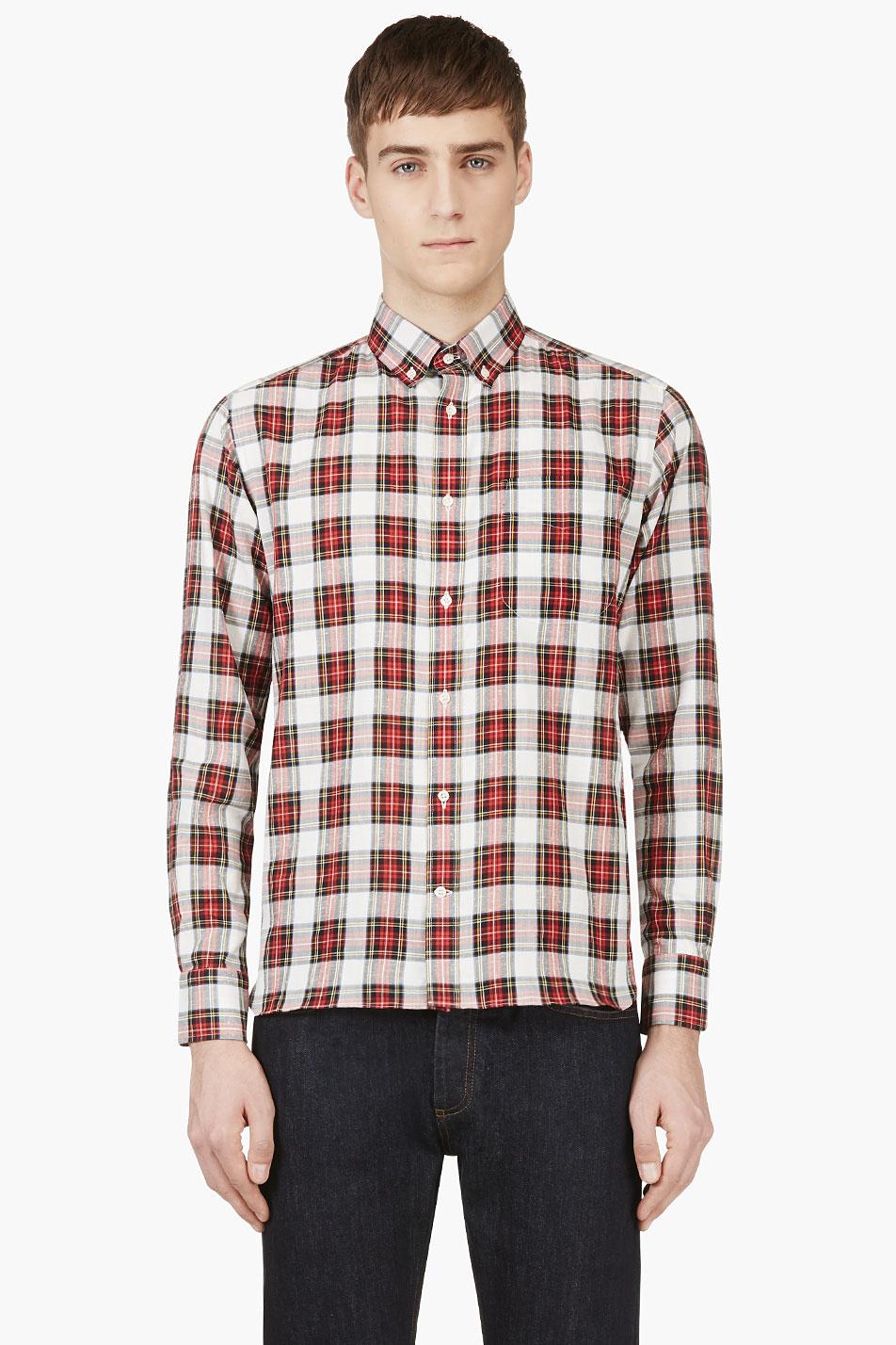 maison kitsun red and white plaid button_down shirt