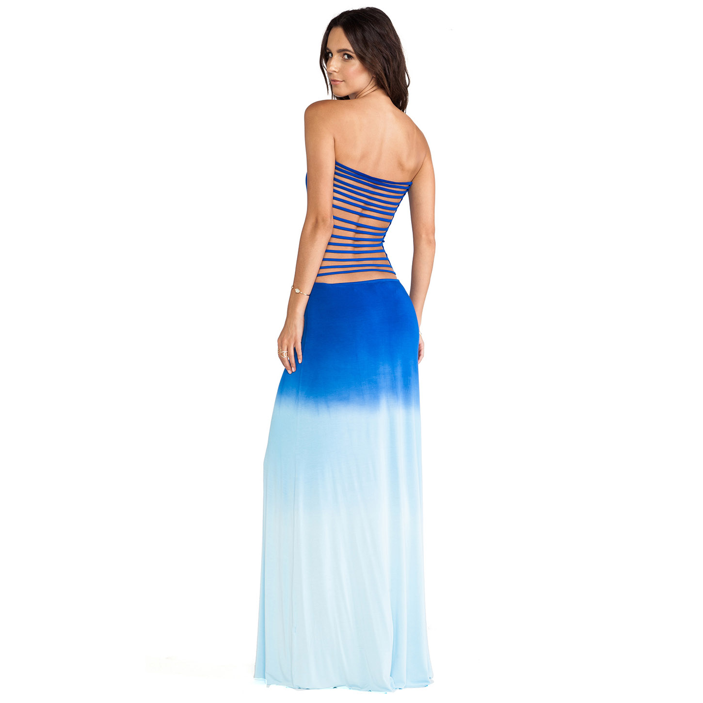 Aliexpress.com : Buy Free Shipping Posterization bandage back cutout gradient color dip dyeing tube top full dress tube top one piece dress  from Reliable dresses sportswear suppliers on ED FASHION.