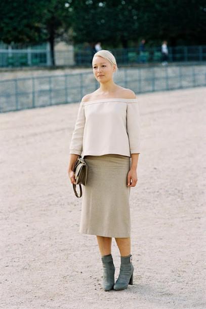 vanessa jackman blogger top off the shoulder midi skirt boots blouse shoes