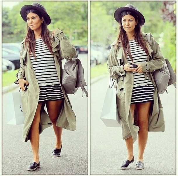 coat kardashians kourtney kardashian striped dress dress