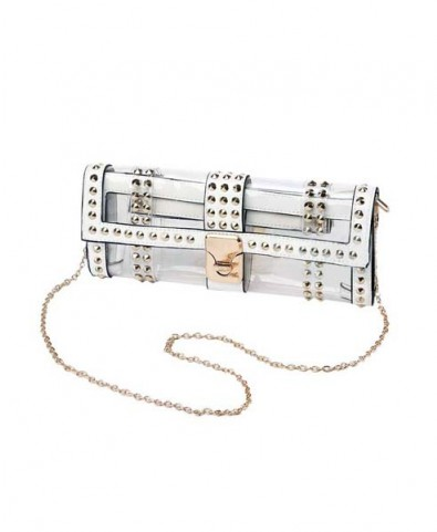 White Transparent Clutch Bag with Stud Embellishment