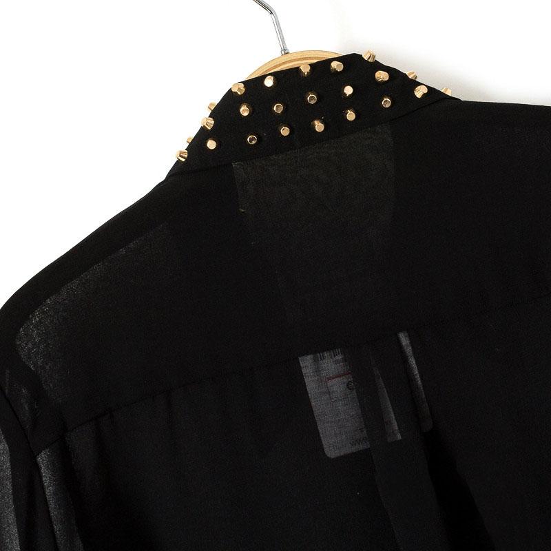 Black Studded Collar Chiffon Sheer Blouse - Sheinside.com