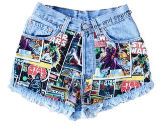 shorts comic book print spikes & seams acid wash star wars comics darth vader denim shorts starwarstheforceawakens