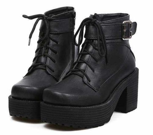 2013 Womens Block Heels Chunky Platform Goth Lace Up Lady's Combat Ankle Boots A   eBay