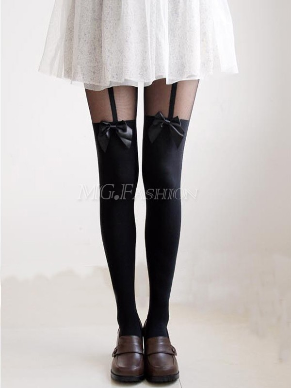 Women Sexy Cute Stockings Pantyhose Tattoo Mock Bow Suspender Sheer Tights[240508]-in Tights from Apparel & Accessories on Aliexpress.com