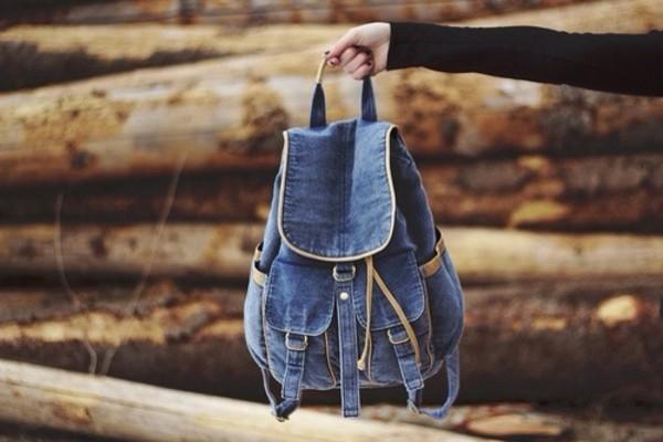 bag blue jeans backpack cool