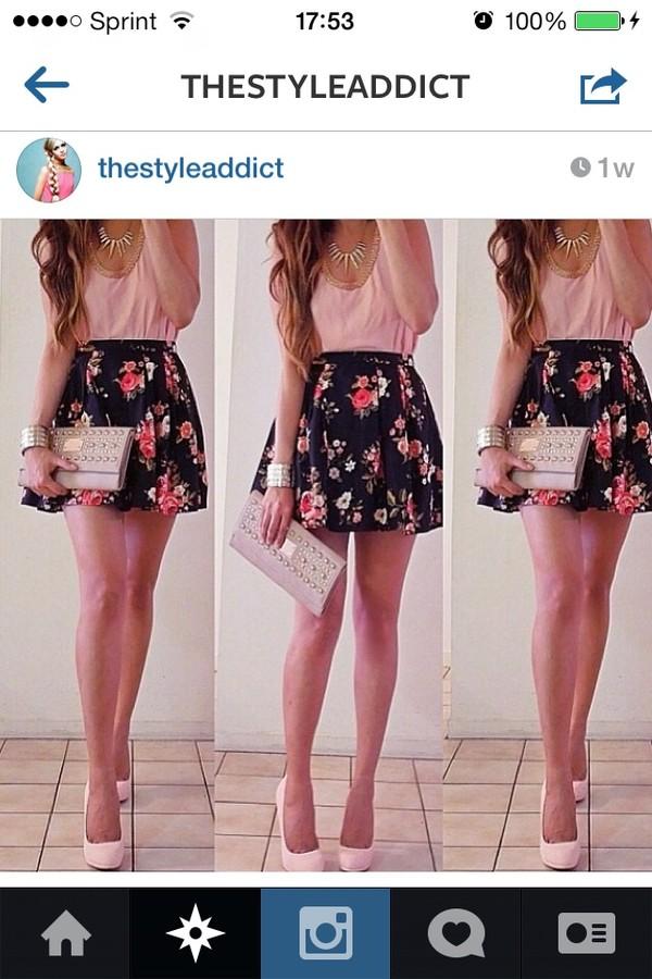 skirt dress flowers pink flowers skater skirt skirt