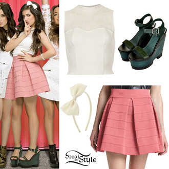 shirt demi lovato hair bow bows fifth harmony little mix peter pan collar pink skirt wedges