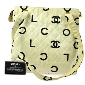 Authentic Chanel Quilted Shoulder Bag Canvas Off White CC Logos France BN02161A | eBay