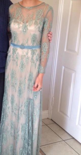 dress aqua long evening dress lace dress