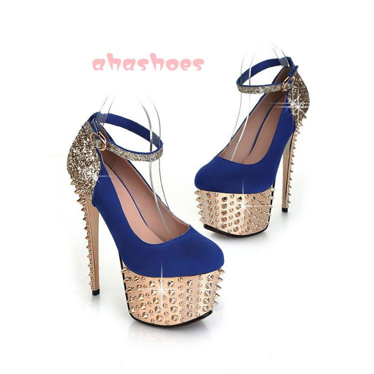 High End Womens Elegant Sexy High Heels Lady Fashion Rivet Platform Pumps Shoes   eBay