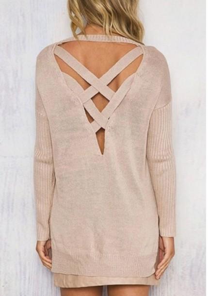 sweater girly girl girly wishlist nude cut-out fall sweater