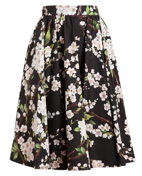 skirt cotton midi maxi sexy sexy skirt 50s style floral print flowers black pink green brown pleated skirt