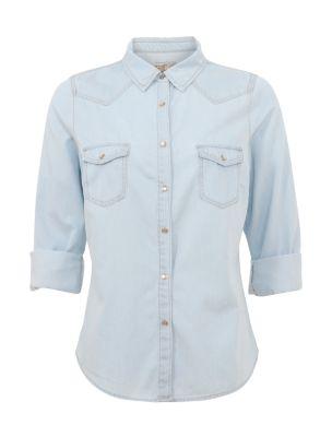 Light Blue Western 3/4 Sleeve Denim Shirt