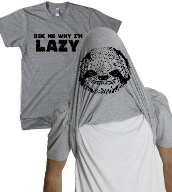 Amazon.com: Ask Me Why I'm Lazy T Shirt Funny Flipup Sloth Shirts: Clothing