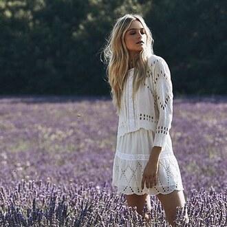 blouse tularosa white top boho bohomeien blanche haut matching set white two piece lace top dentelle revolve clothing revolve