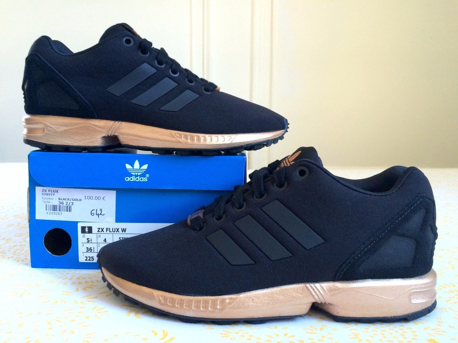sale retailer eda1c 986f2 sale adidas zx flux black and gold pret 32e18 72cbc