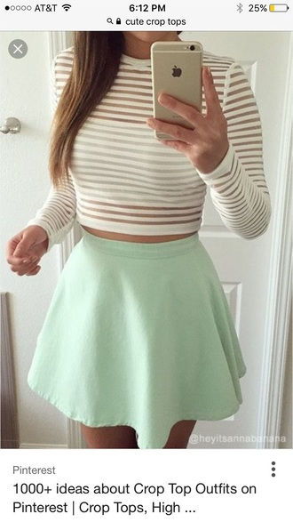 shirt cropped stripes