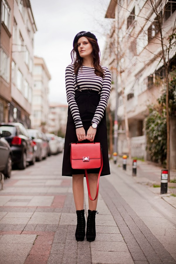 the bow-tie skirt hat t-shirt shoes bag