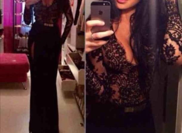 dress black lace maxi v neck  dress