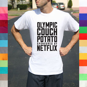 Olympic Couch Potato Sponsored by Netflix Funny Lazy Tired True Story T Shirt | eBay