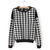 Womens Fashion Houndstooth Knit Jumper Pullover Sweater Top Coat Black /White | eBay