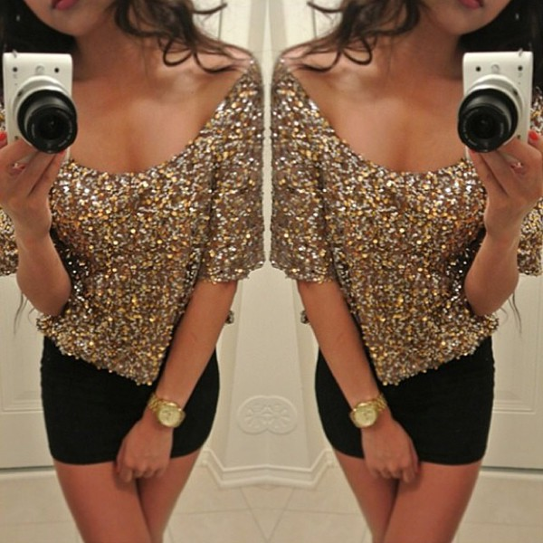 top sexy top glamour red carpet sequins