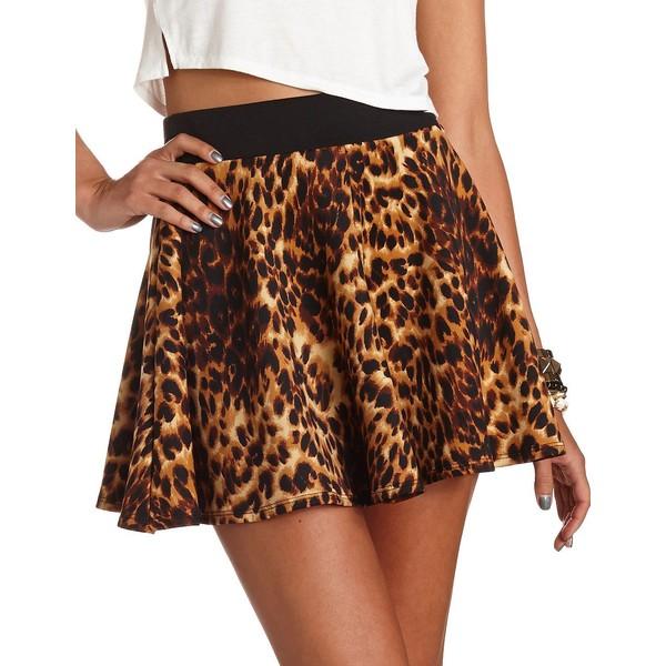 Leopard Print Scuba Skater Skirt - Charlotte Russe - Polyvore