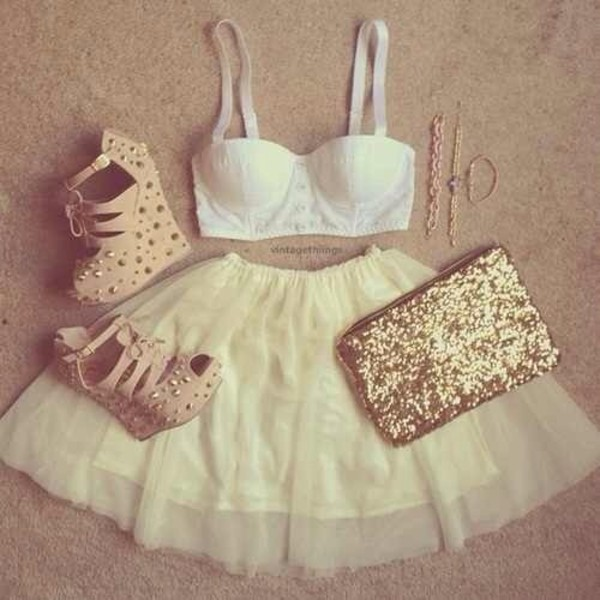 shoes gold clutch gold sequins white bustier skater skirt high waist skirts spiked wedges nude wedges