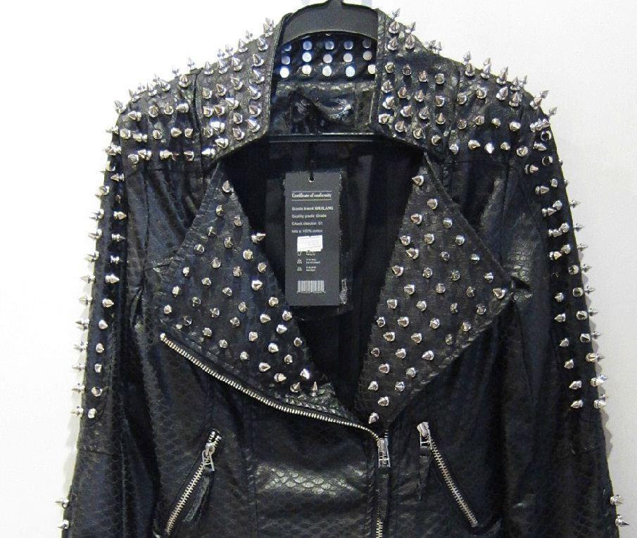 2013 PU Leather Jacket Coat Women zipper black glod Punk Strong Spike Rivet Studded Shoulder Snake Pattern autumn streetwear-in Leather & Suede from Apparel & Accessories on Aliexpress.com