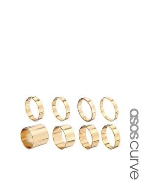 ASOS Curve | ASOS CURVE Pack of 8 Smooth Rings at ASOS