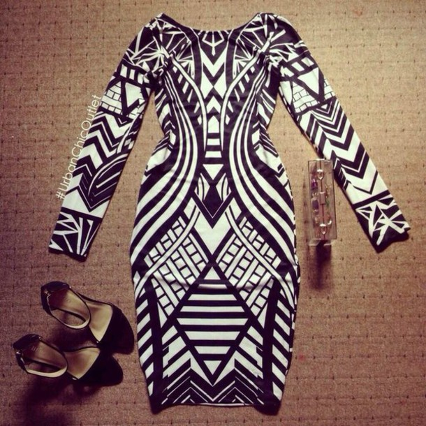 dress black and white dress aztec tribal pattern patterned dress long sleeve dress