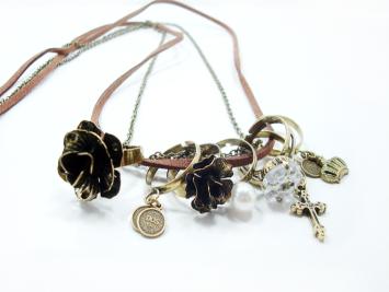 Vintage Multiple Ring Pendants Cross Crown Pearl Rose Long Necklace